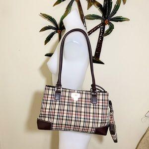 Liz Clairborne brown tan plaid shoulder bag